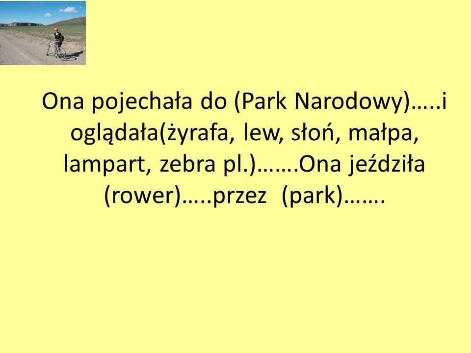 Ona pojechała do (Park Narodowy)…..i oglądała(żyrafa, lew, słoń, małpa, lampart, zebra pl.)…….Ona jeździła (rower)…..przez (park)…….