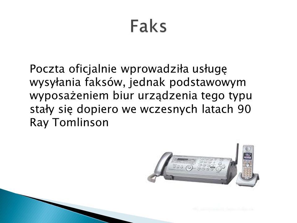 Poczta oficjalnie wprowadziła usługę wysyłania faksów, jednak podstawowym wyposażeniem biur urządzenia tego typu stały się dopiero we wczesnych latach