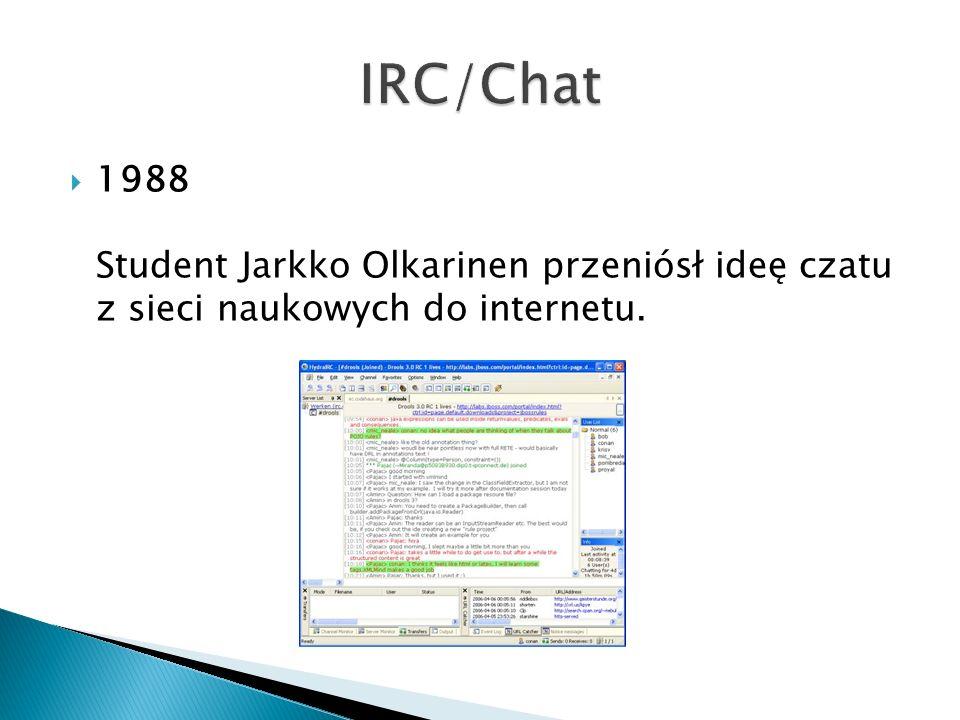  1988 Student Jarkko Olkarinen przeniósł ideę czatu z sieci naukowych do internetu.