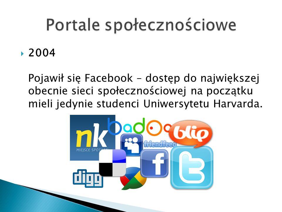  2004 Pojawił się Facebook – dostęp do największej obecnie sieci społecznościowej na początku mieli jedynie studenci Uniwersytetu Harvarda.