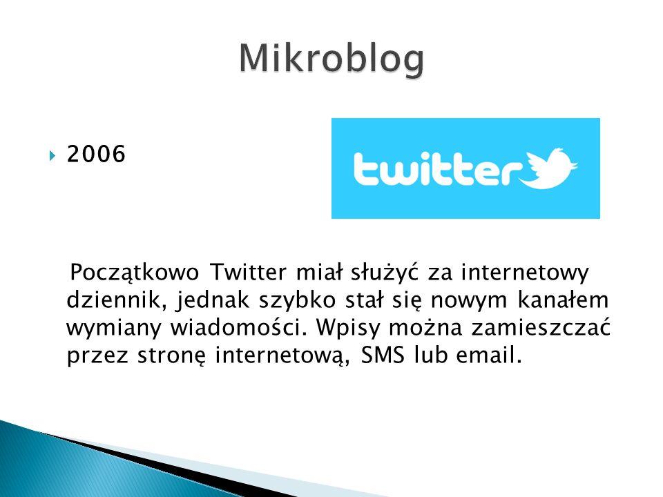  2006 Początkowo Twitter miał służyć za internetowy dziennik, jednak szybko stał się nowym kanałem wymiany wiadomości. Wpisy można zamieszczać przez