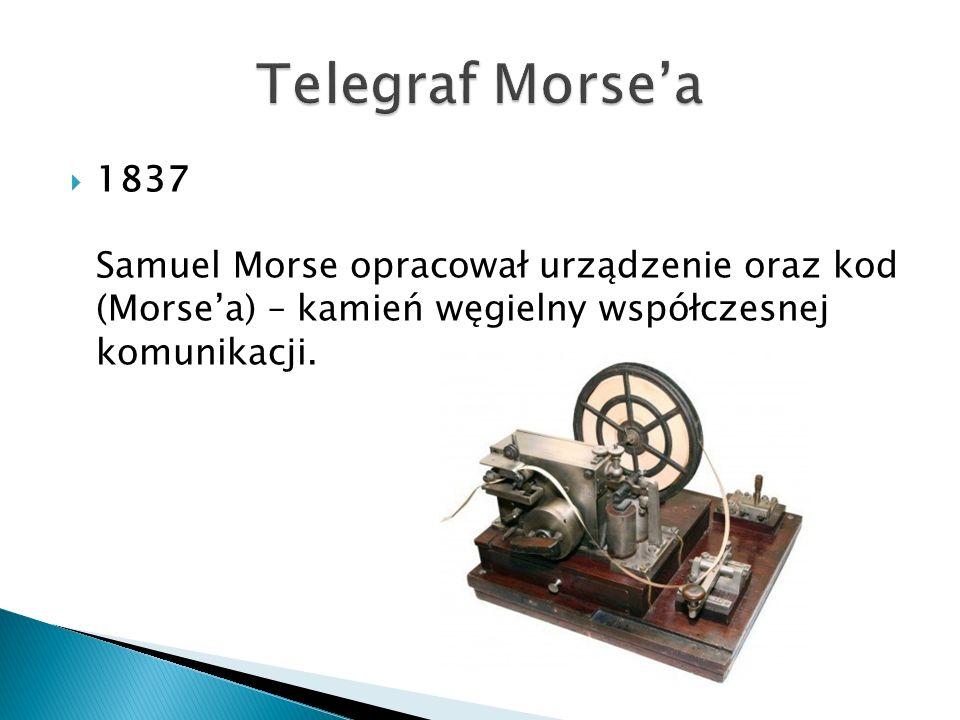  1837 Samuel Morse opracował urządzenie oraz kod (Morse'a) – kamień węgielny współczesnej komunikacji.