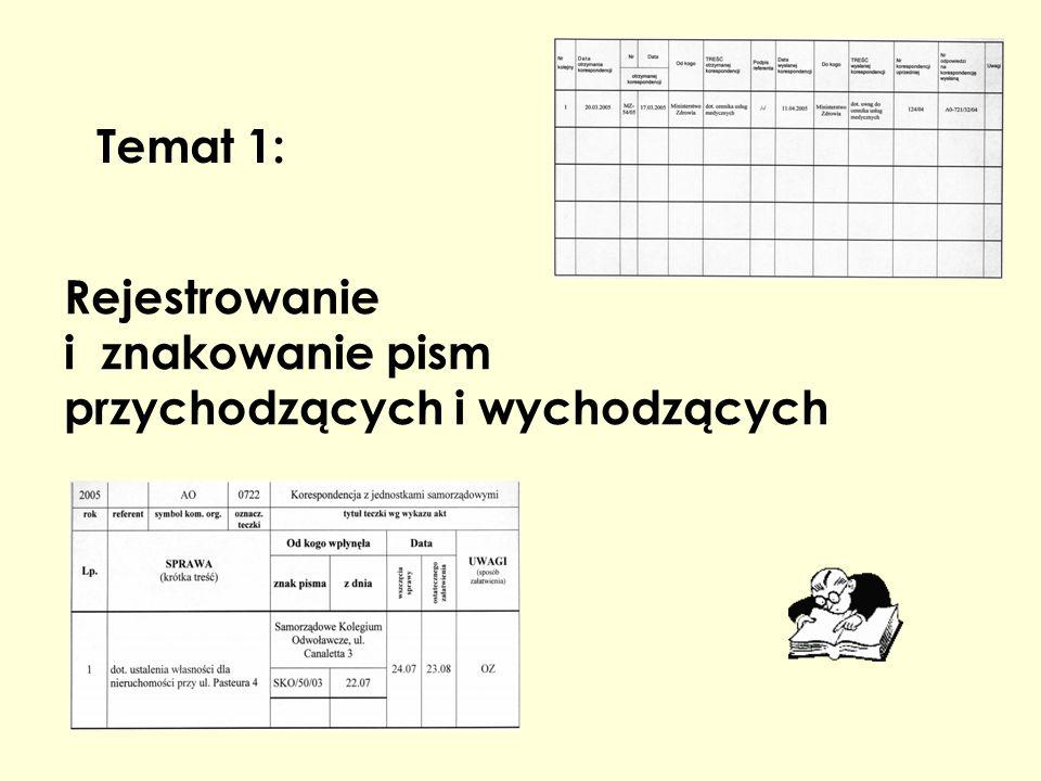 Rejestrowanie i znakowanie pism przychodzących i wychodzących Temat 1: