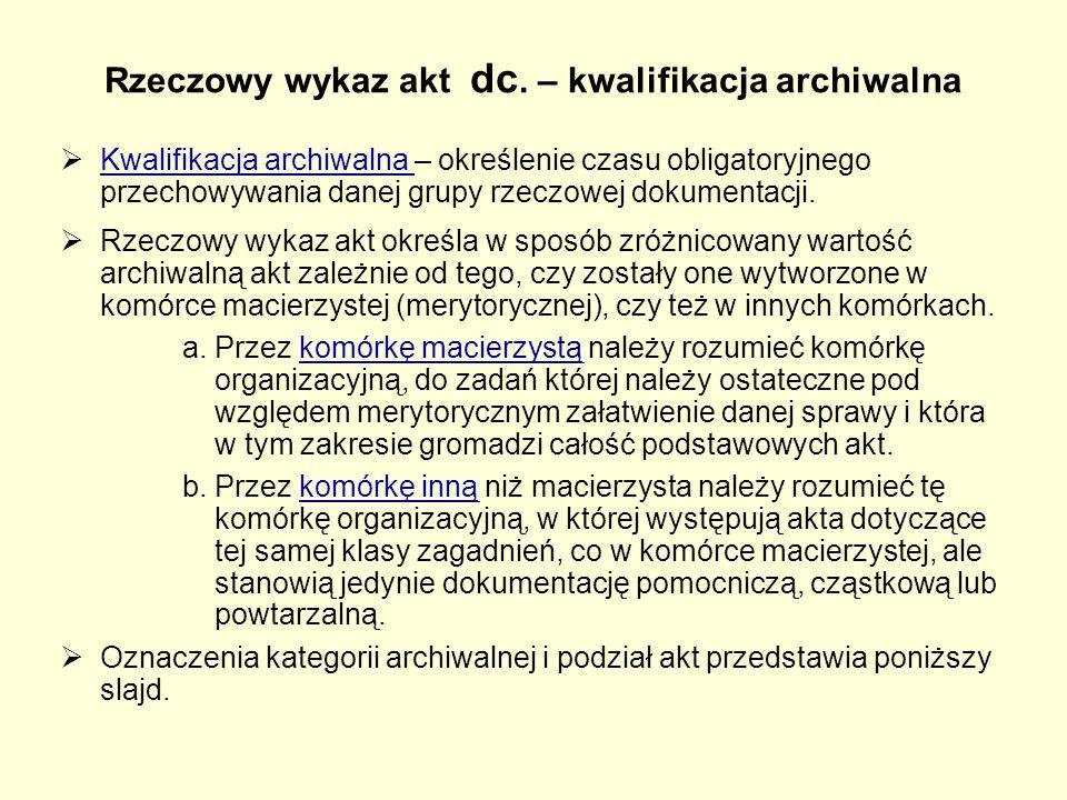 Rzeczowy wykaz akt dc. – kwalifikacja archiwalna  Kwalifikacja archiwalna – określenie czasu obligatoryjnego przechowywania danej grupy rzeczowej dok