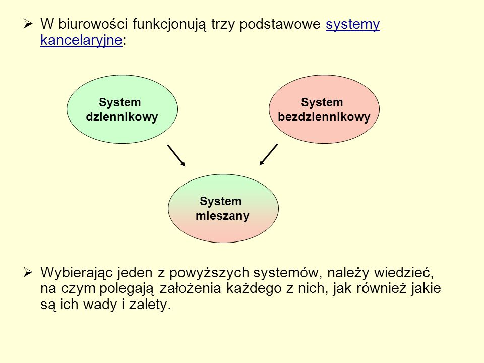System dziennikowy  W systemie dziennikowym największą wagę przykłada się do pojedynczego pisma, a nie do sprawy, której pismo dotyczy.