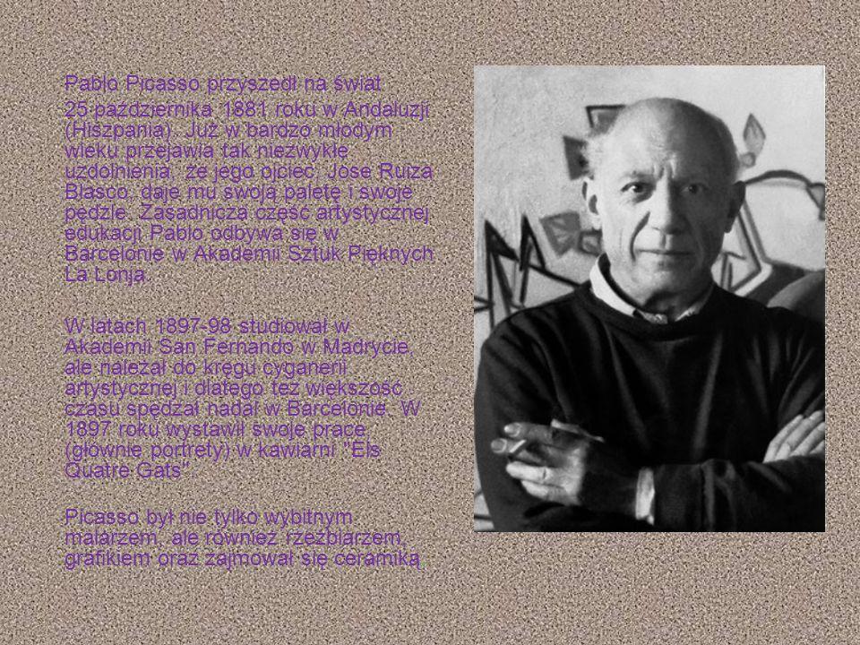 Pablo Ruiz Picasso właśc. Pablo Diego José Francisco de Paula Juan Nepomuceno María de los Remedios Cipriano de la Santísima Trinidad Ruiz y Picasso (