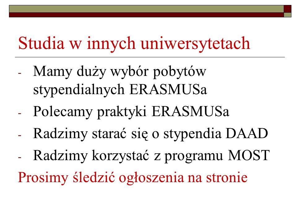 Studia w innych uniwersytetach - Mamy duży wybór pobytów stypendialnych ERASMUSa - Polecamy praktyki ERASMUSa - Radzimy starać się o stypendia DAAD -