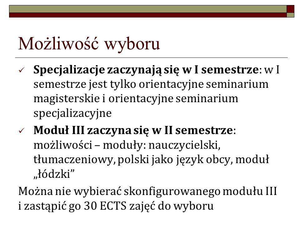 """Możliwość wyboru Specjalizacje zaczynają się w I semestrze: w I semestrze jest tylko orientacyjne seminarium magisterskie i orientacyjne seminarium specjalizacyjne Moduł III zaczyna się w II semestrze: możliwości – moduły: nauczycielski, tłumaczeniowy, polski jako język obcy, moduł """"łódzki Można nie wybierać skonfigurowanego modułu III i zastąpić go 30 ECTS zajęć do wyboru"""