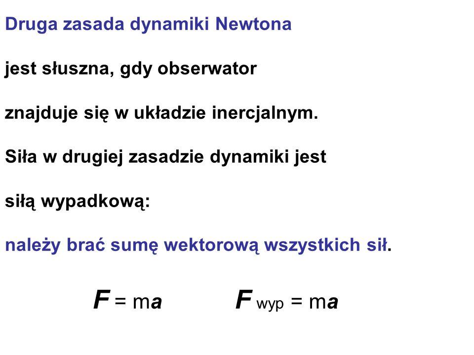 Druga zasada dynamiki Newtona jest słuszna, gdy obserwator znajduje się w układzie inercjalnym. Siła w drugiej zasadzie dynamiki jest siłą wypadkową: