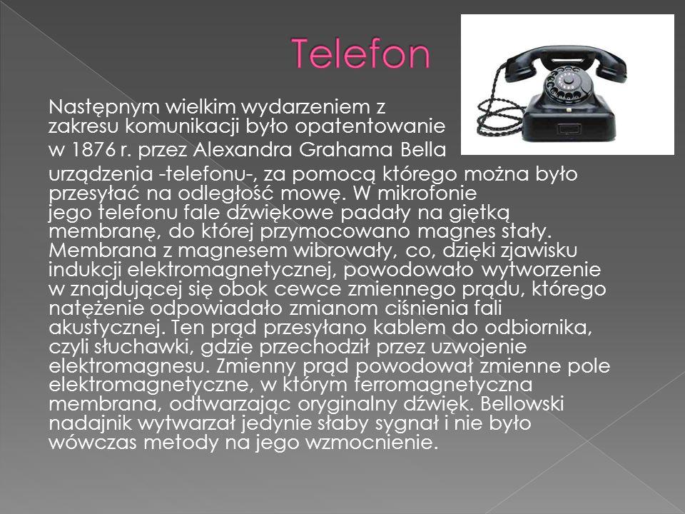 Następnym wielkim wydarzeniem z zakresu komunikacji było opatentowanie w 1876 r.