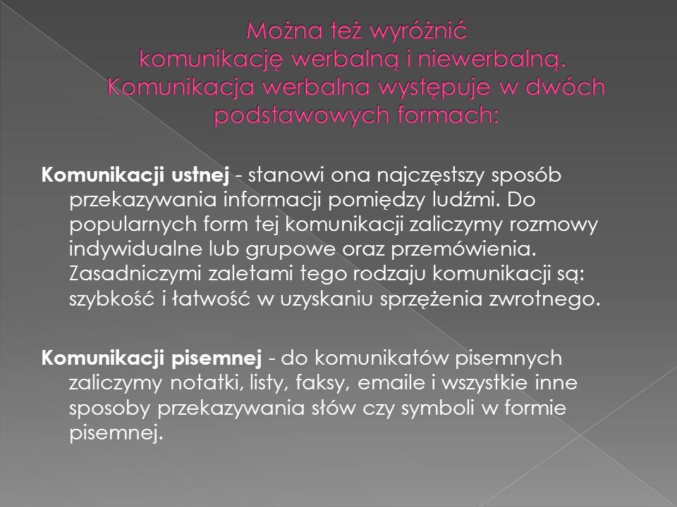 Komunikacji ustnej - stanowi ona najczęstszy sposób przekazywania informacji pomiędzy ludźmi.