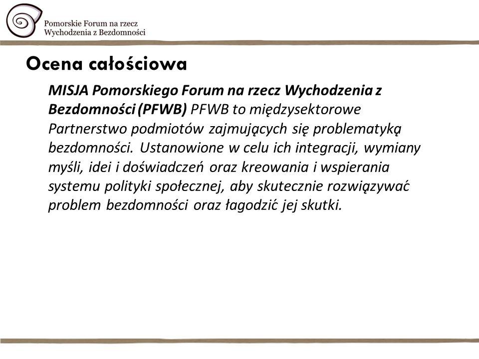 Ocena całościowa MISJA Pomorskiego Forum na rzecz Wychodzenia z Bezdomności (PFWB) PFWB to międzysektorowe Partnerstwo podmiotów zajmujących się problematyką bezdomności.