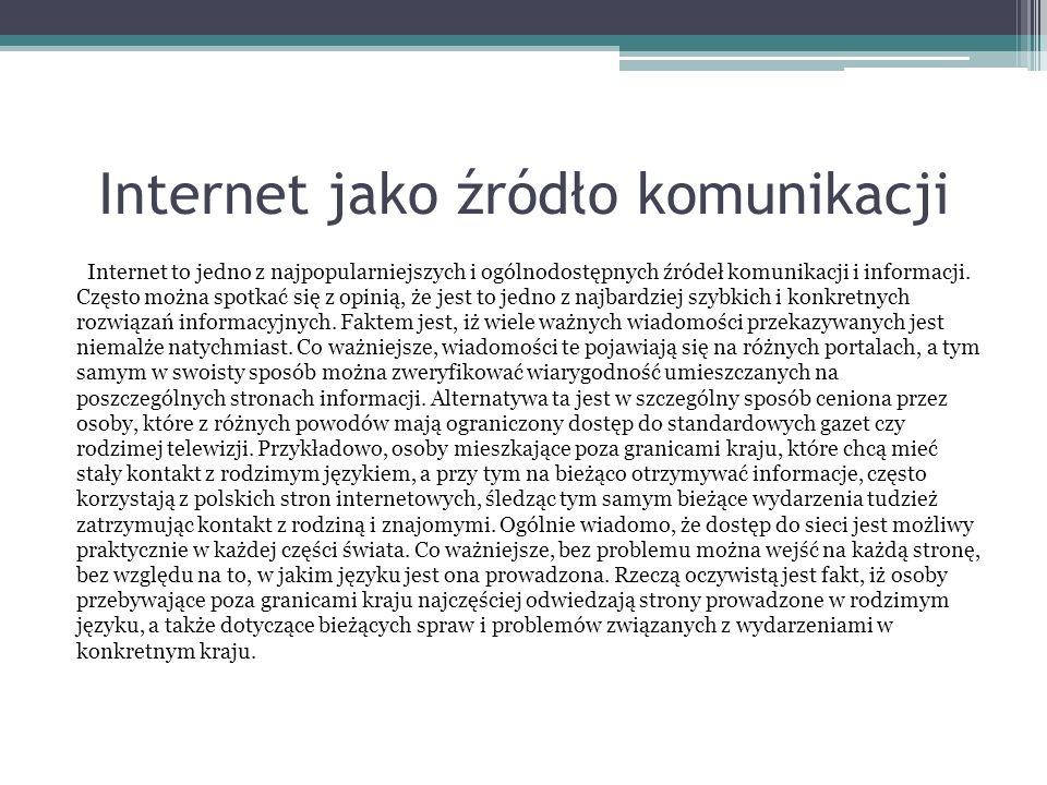 Internet jako źródło komunikacji Internet to jedno z najpopularniejszych i ogólnodostępnych źródeł komunikacji i informacji.