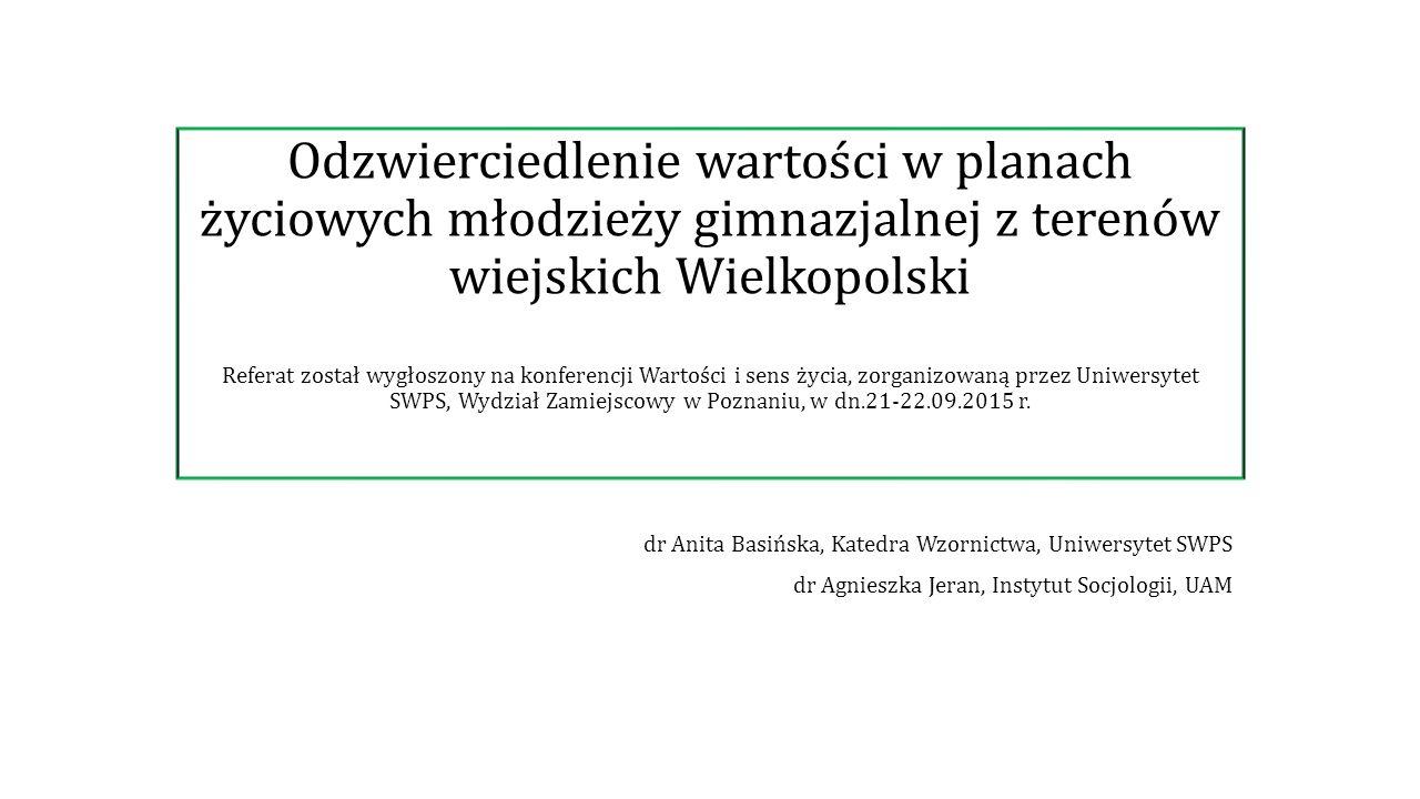 Odzwierciedlenie wartości w planach życiowych młodzieży gimnazjalnej z terenów wiejskich Wielkopolski Referat został wygłoszony na konferencji Wartości i sens życia, zorganizowaną przez Uniwersytet SWPS, Wydział Zamiejscowy w Poznaniu, w dn.21-22.09.2015 r.
