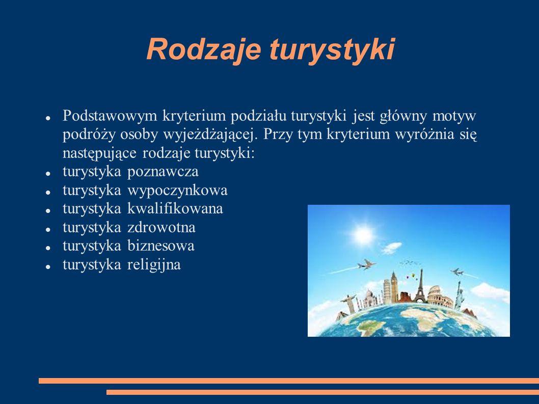 Rodzaje turystyki Podstawowym kryterium podziału turystyki jest główny motyw podróży osoby wyjeżdżającej. Przy tym kryterium wyróżnia się następujące