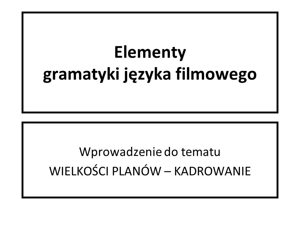 Elementy gramatyki języka filmowego Wprowadzenie do tematu WIELKOŚCI PLANÓW – KADROWANIE