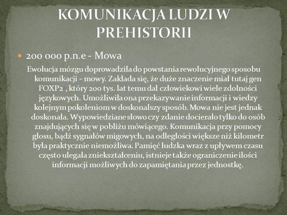 30 000 p.n.e - Pierwsze symbole Niedoskonałości mowy prowadziły do prób stworzenia lepszego sposobu przekazywania i przechowywania informacji.