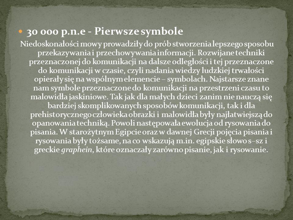 30 000 p.n.e - Pierwsze symbole Niedoskonałości mowy prowadziły do prób stworzenia lepszego sposobu przekazywania i przechowywania informacji. Rozwija