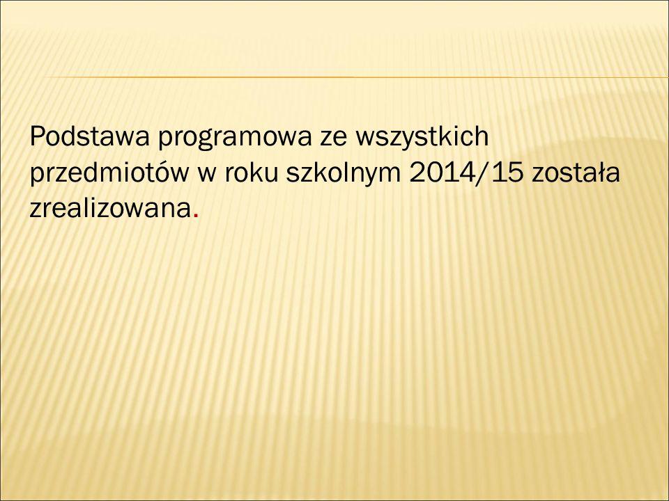 Podstawa programowa ze wszystkich przedmiotów w roku szkolnym 2014/15 została zrealizowana.