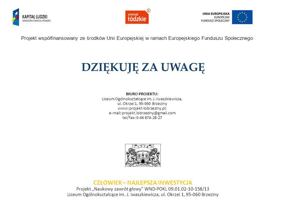 DZIĘKUJĘ ZA UWAGĘ Projekt współfinansowany ze środków Unii Europejskiej w ramach Europejskiego Funduszu Społecznego CZŁOWIEK – NAJLEPSZA INWESTYCJA Pr