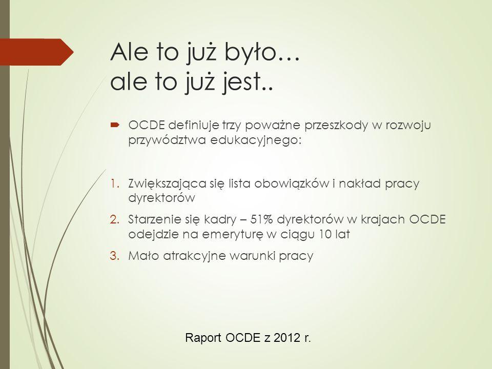 Ale to już było… ale to już jest..  OCDE definiuje trzy poważne przeszkody w rozwoju przywództwa edukacyjnego: 1.Zwiększająca się lista obowiązków i