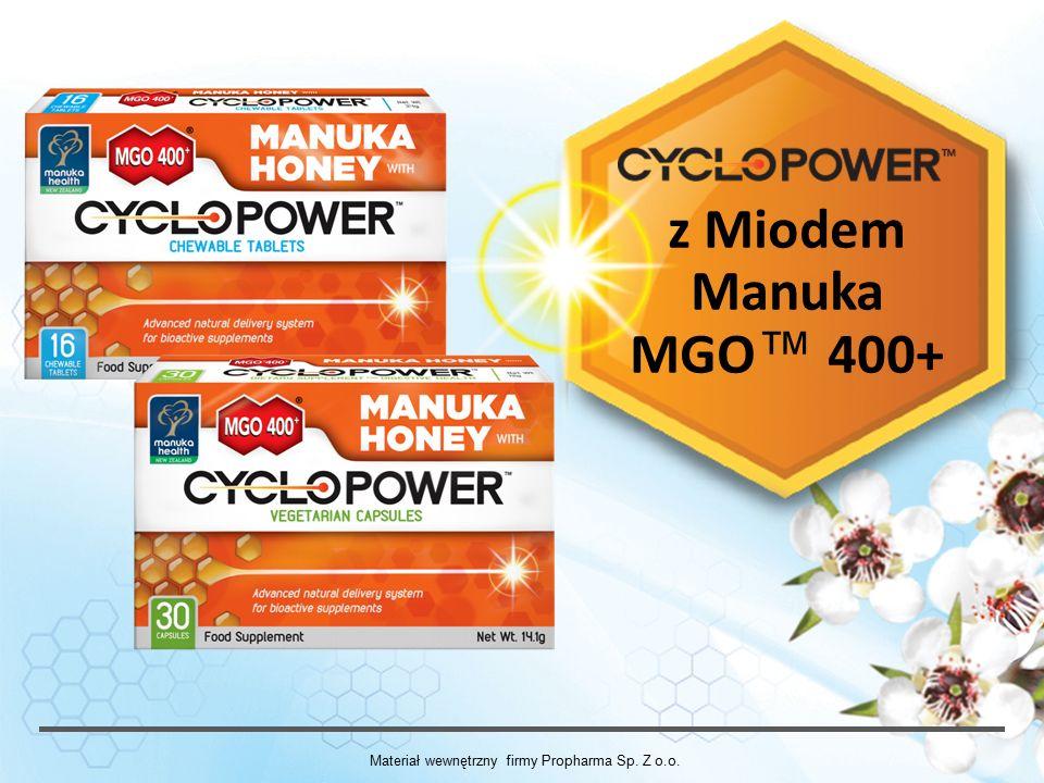 Kapsułki CycloPower™ Składniki: 1.alfa-cyklodekstryna 46,8%, 2.miód Manuka MGO™ 400+ (Leptospermum scoparium) 38,3%, 3.skrobia ryżowa- powłoczka kapsułki, 4.dwutlenek krzemu (substancja przeciwzbrylająca) 5.