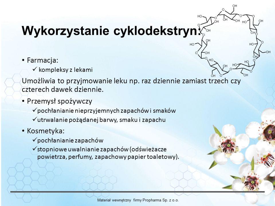 Wykorzystanie cyklodekstryn: Farmacja: kompleksy z lekami Umożliwia to przyjmowanie leku np.