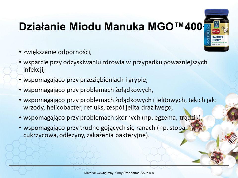 Działanie Miodu Manuka MGO™400+ zwiększanie odporności, wsparcie przy odzyskiwaniu zdrowia w przypadku poważniejszych infekcji, wspomagająco przy przeziębieniach i grypie, wspomagająco przy problemach żołądkowych, wspomagająco przy problemach żołądkowych i jelitowych, takich jak: wrzody, helicobacter, refluks, zespół jelita drażliwego, wspomagająco przy problemach skórnych (np.