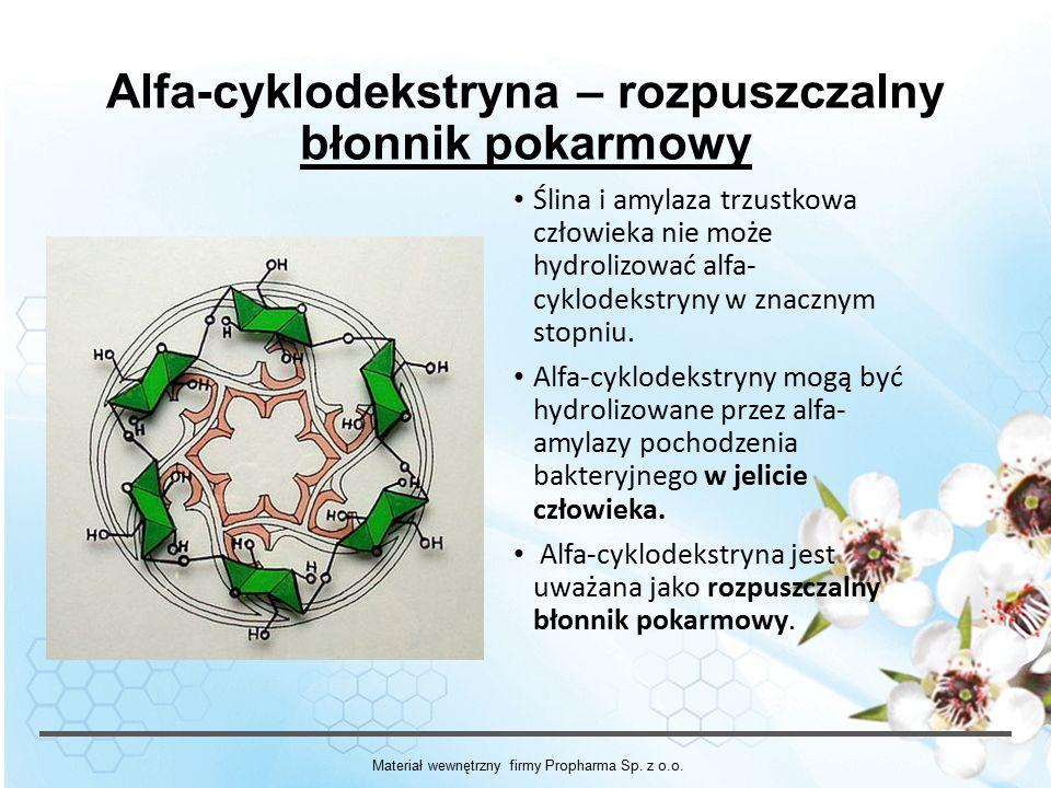 Alfa-cyklodekstryna – rozpuszczalny błonnik pokarmowy Ślina i amylaza trzustkowa człowieka nie może hydrolizować alfa- cyklodekstryny w znacznym stopniu.