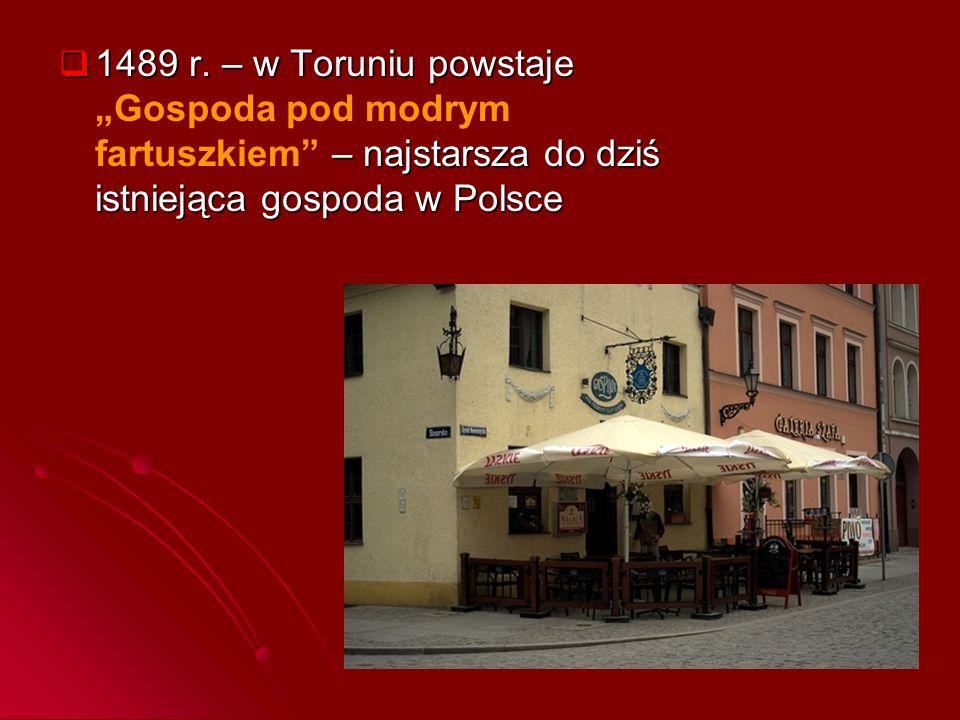 """ 1489 r. – w Toruniu powstaje – najstarsza do dziś istniejąca gospoda w Polsce  1489 r. – w Toruniu powstaje """"Gospoda pod modrym fartuszkiem"""" – najs"""
