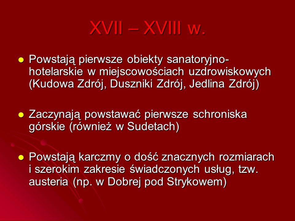 XVII – XVIII w. Powstają pierwsze obiekty sanatoryjno- hotelarskie w miejscowościach uzdrowiskowych (Kudowa Zdrój, Duszniki Zdrój, Jedlina Zdrój) Pows