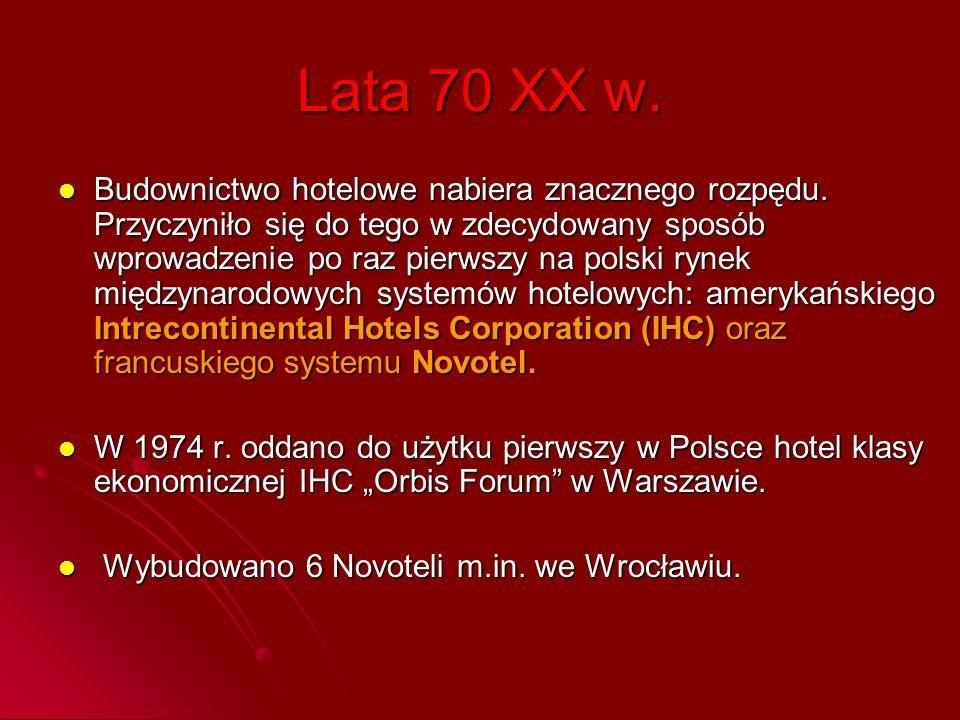 Lata 70 XX w. Budownictwo hotelowe nabiera znacznego rozpędu. Przyczyniło się do tego w zdecydowany sposób wprowadzenie po raz pierwszy na polski ryne