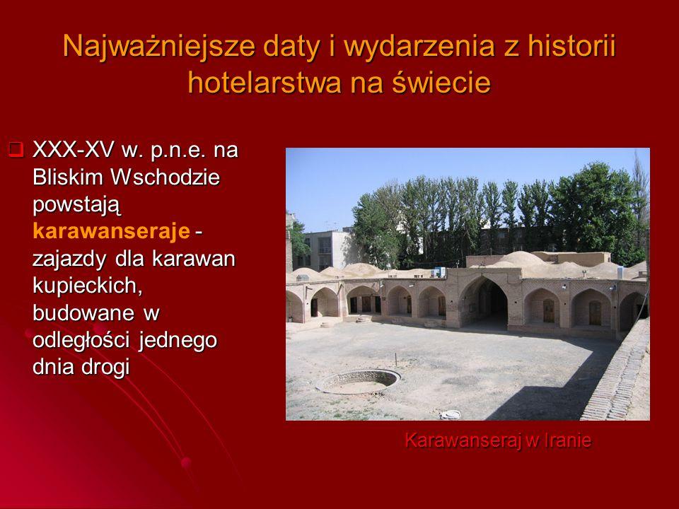 Najważniejsze daty i wydarzenia z historii hotelarstwa na świecie  XXX-XV w. p.n.e. na Bliskim Wschodzie powstają - zajazdy dla karawan kupieckich, b