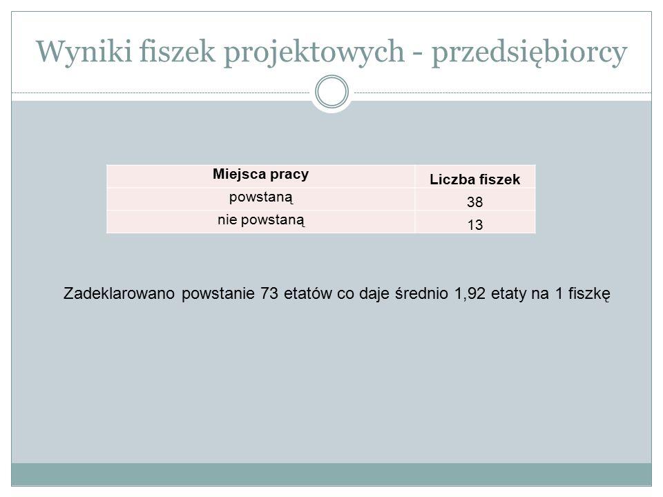 Wyniki fiszek projektowych - przedsiębiorcy Miejsca pracy Liczba fiszek powstaną 38 nie powstaną 13 Zadeklarowano powstanie 73 etatów co daje średnio