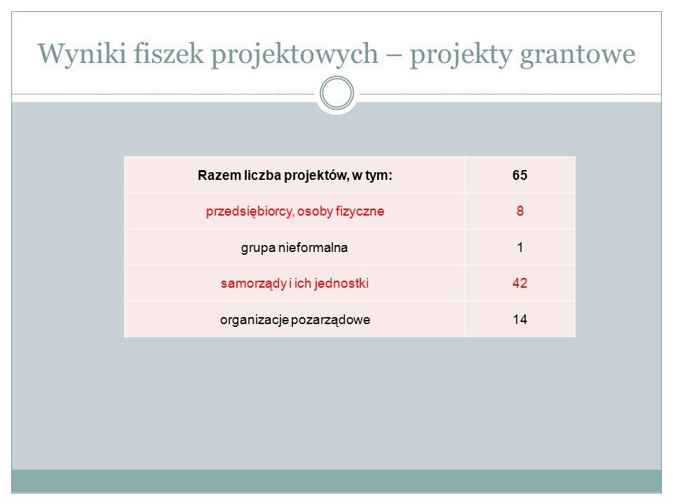 Wyniki fiszek projektowych – projekty grantowe Razem liczba projektów, w tym:65 przedsiębiorcy, osoby fizyczne8 grupa nieformalna1 samorządy i ich jed