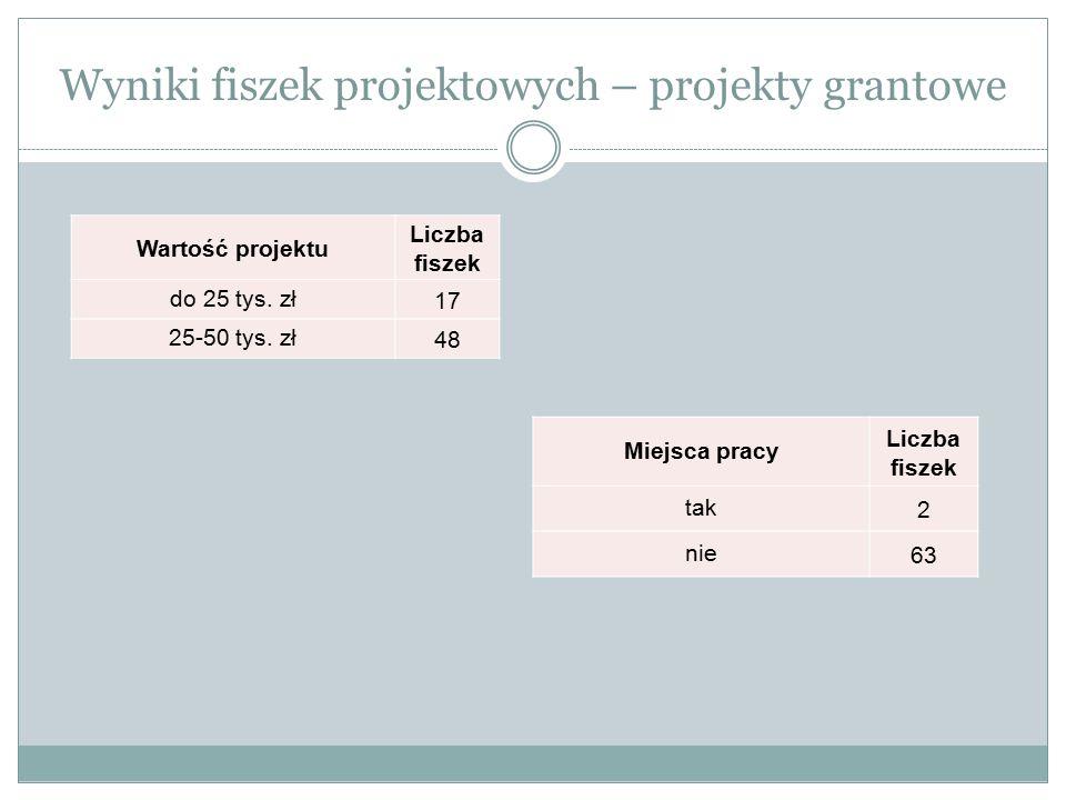 Wyniki fiszek projektowych – projekty grantowe Wartość projektu Liczba fiszek do 25 tys. zł17 25-50 tys. zł48 Miejsca pracy Liczba fiszek tak2 nie63