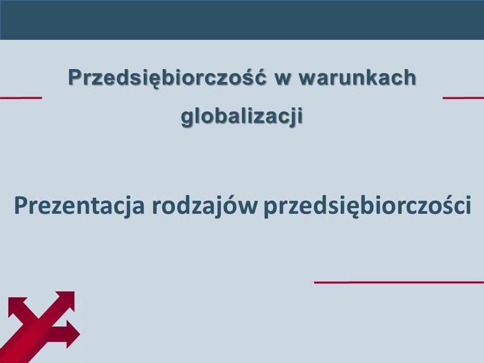 Przedsiębiorczość w warunkach globalizacji Prezentacja rodzajów przedsiębiorczości