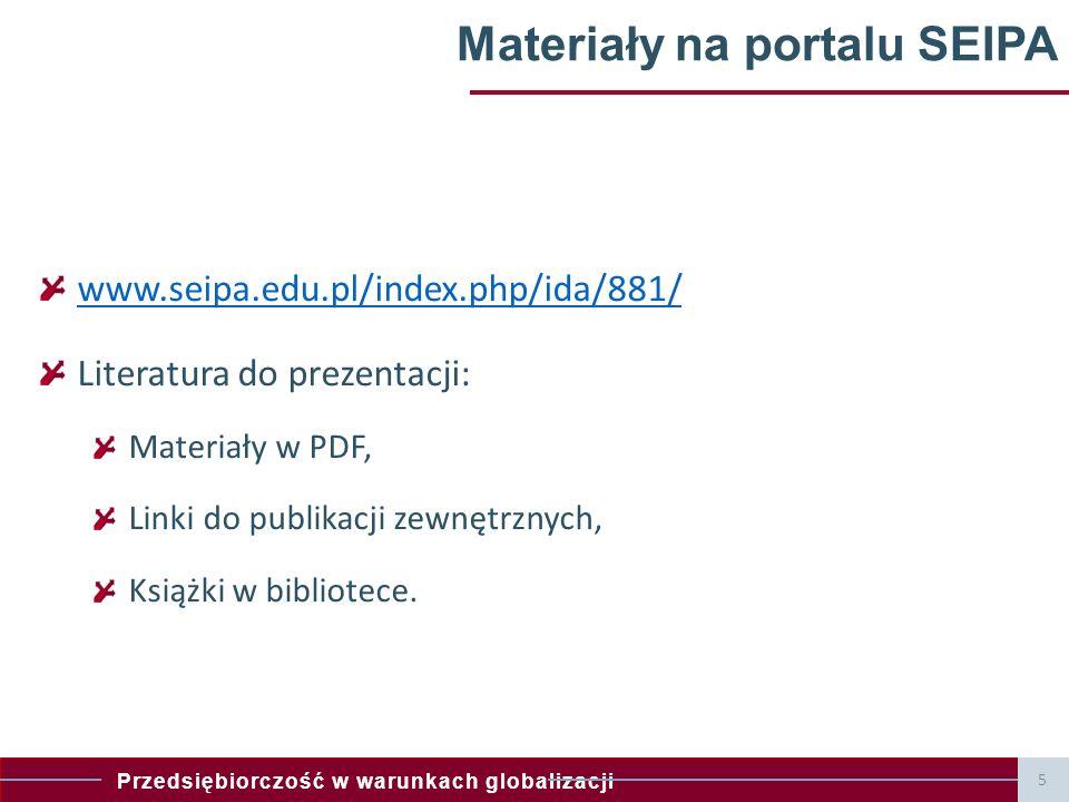 Przedsiębiorczość w warunkach globalizacji Materiały na portalu SEIPA www.seipa.edu.pl/index.php/ida/881/ Literatura do prezentacji: Materiały w PDF, Linki do publikacji zewnętrznych, Książki w bibliotece.