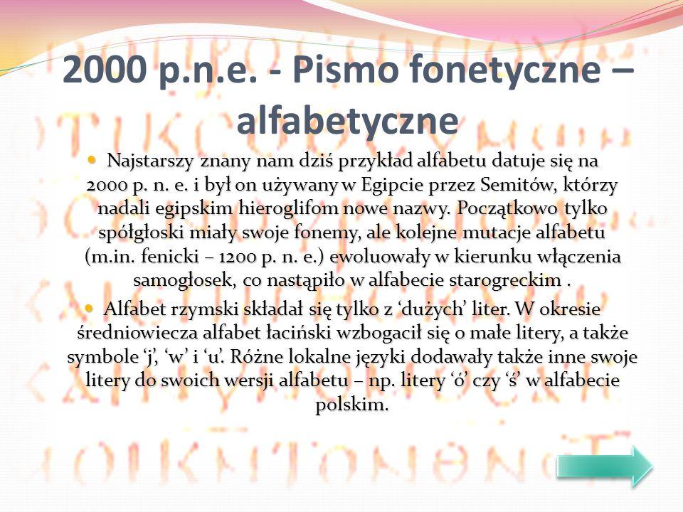 Najstarszy znany nam dziś przykład alfabetu datuje się na 2000 p. n. e. i był on używany w Egipcie przez Semitów, którzy nadali egipskim hieroglifom n