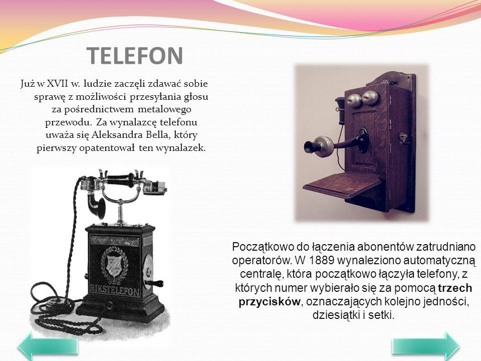 Już w XVII w. ludzie zaczęli zdawać sobie sprawę z możliwości przesyłania głosu za pośrednictwem metalowego przewodu. Za wynalazcę telefonu uważa się