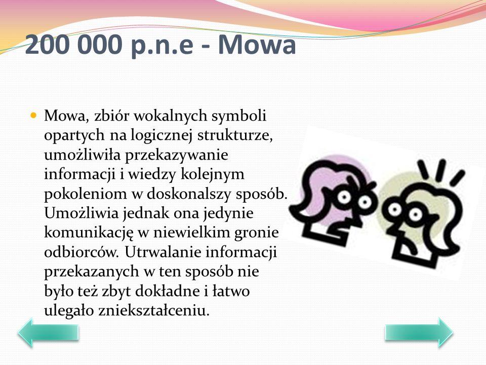 200 000 p.n.e - Mowa Mowa, zbiór wokalnych symboli opartych na logicznej strukturze, umożliwiła przekazywanie informacji i wiedzy kolejnym pokoleniom w doskonalszy sposób.