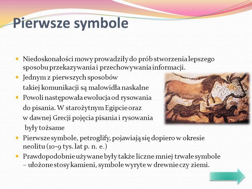 Pierwsze symbole Niedoskonałości mowy prowadziły do prób stworzenia lepszego sposobu przekazywania i przechowywania informacji. Jednym z pierwszych sp