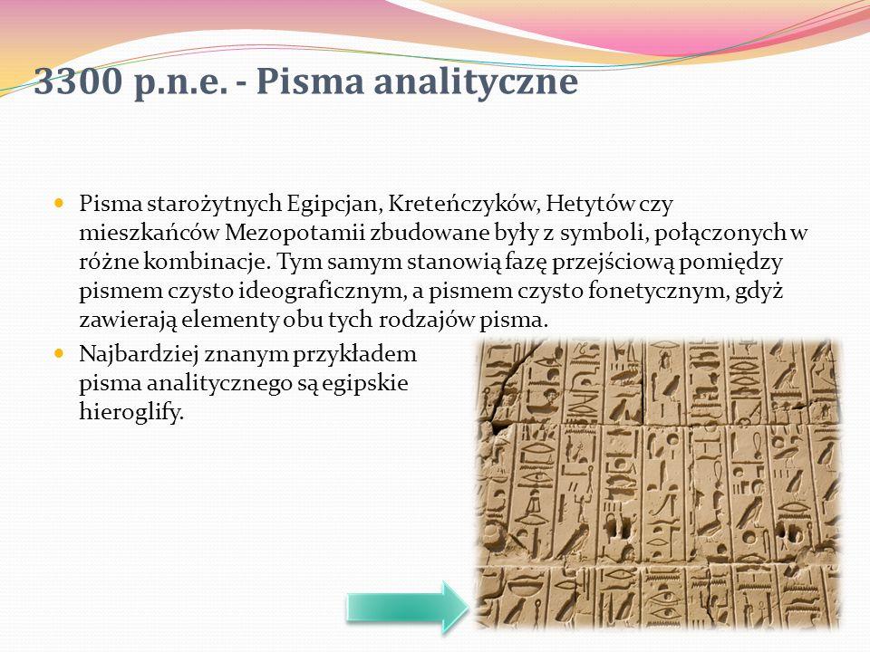 Pisma starożytnych Egipcjan, Kreteńczyków, Hetytów czy mieszkańców Mezopotamii zbudowane były z symboli, połączonych w różne kombinacje. Tym samym sta