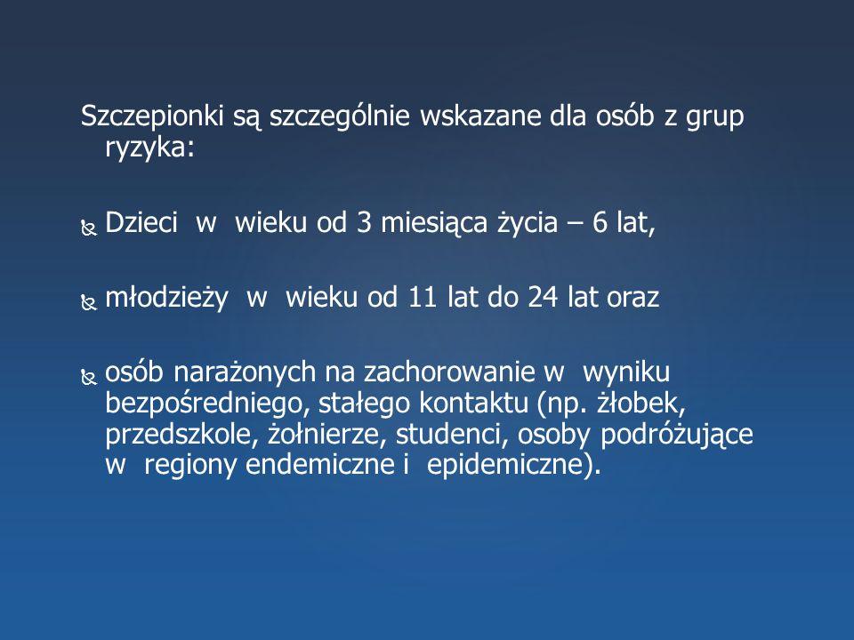 Szczepionki są szczególnie wskazane dla osób z grup ryzyka:   Dzieci w wieku od 3 miesiąca życia – 6 lat,   młodzieży w wieku od 11 lat do 24 lat