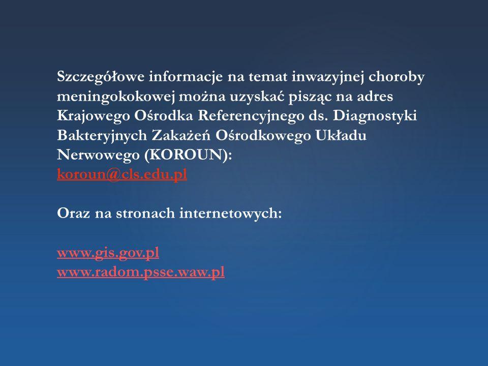 Szczegółowe informacje na temat inwazyjnej choroby meningokokowej można uzyskać pisząc na adres Krajowego Ośrodka Referencyjnego ds. Diagnostyki Bakte