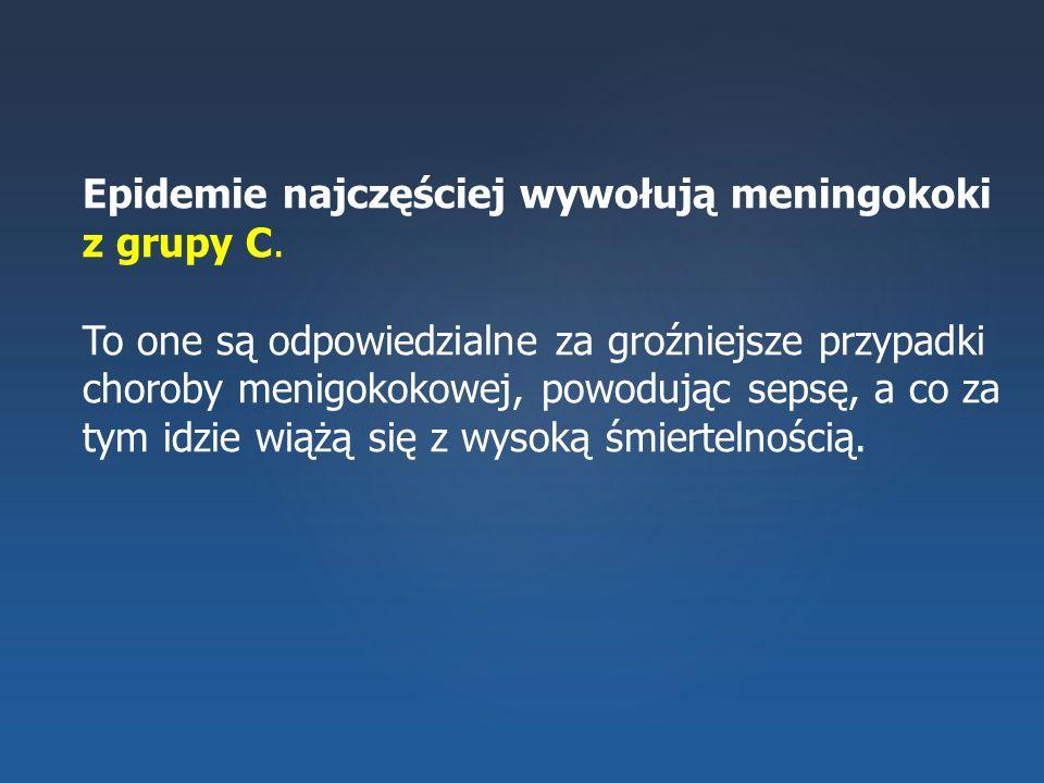 Epidemie najczęściej wywołują meningokoki z grupy C. To one są odpowiedzialne za groźniejsze przypadki choroby menigokokowej, powodując sepsę, a co za
