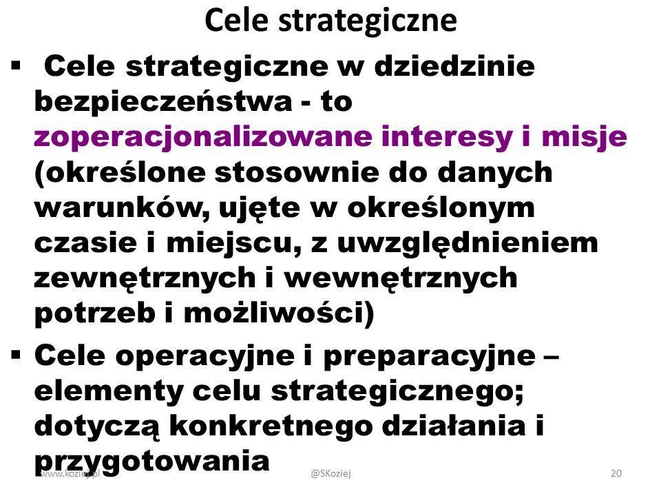 Cele strategiczne  Cele strategiczne w dziedzinie bezpieczeństwa - to zoperacjonalizowane interesy i misje (określone stosownie do danych warunków, u