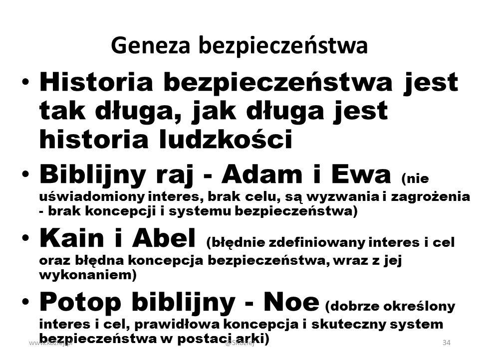 Geneza bezpieczeństwa Historia bezpieczeństwa jest tak długa, jak długa jest historia ludzkości Biblijny raj - Adam i Ewa (nie uświadomiony interes, b