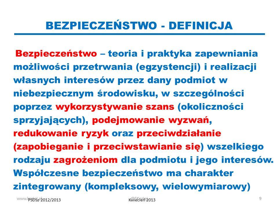 Rodzaje bezpieczeństwa (wg rodzaju podmiotu) indywidualne (osobowe, personalne) grupowe (rodowe, plemienne, zawodowe, korporacyjne itp.) narodowe - państwowe (lokalne, terytorialne, krajowe) międzynarodowe (regionalne, globalne) www.koziej.pl10@SKoziej