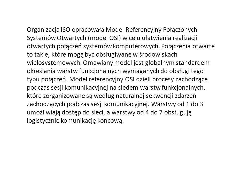 Organizacja ISO opracowała Model Referencyjny Połączonych Systemów Otwartych (model OSI) w celu ułatwienia realizacji otwartych połączeń systemów komp